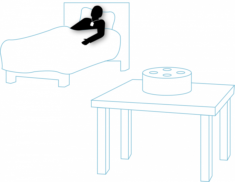 Senior in bed with a wireless nurse call wearable and an Amazon Alexa device on a table
