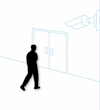 Silhouette of a senior approaching a door with a camera for access control and wander management