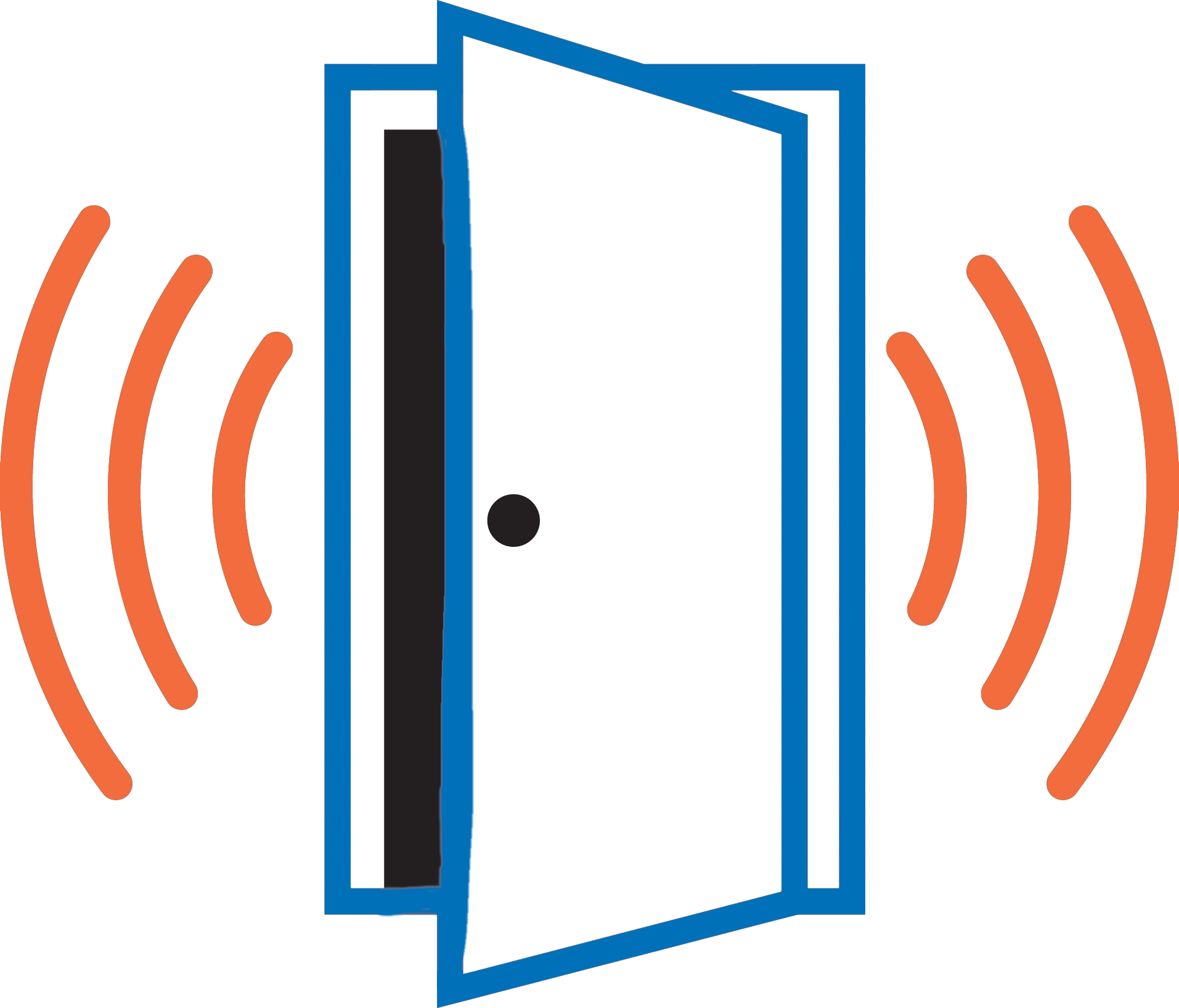 Icon of an open door with alert lines for access control