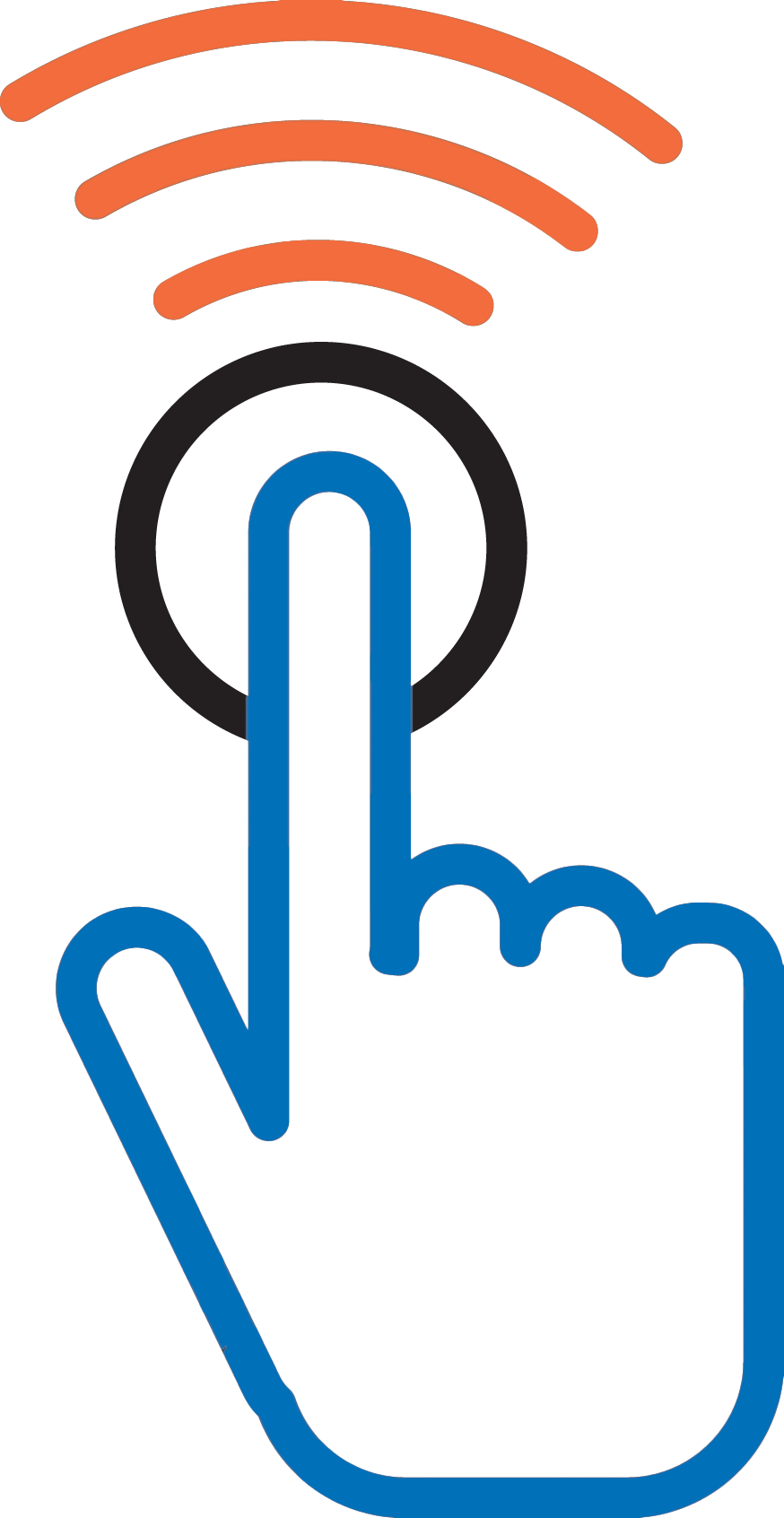 Icon of a finger pushing a button to represent wireless nurse call